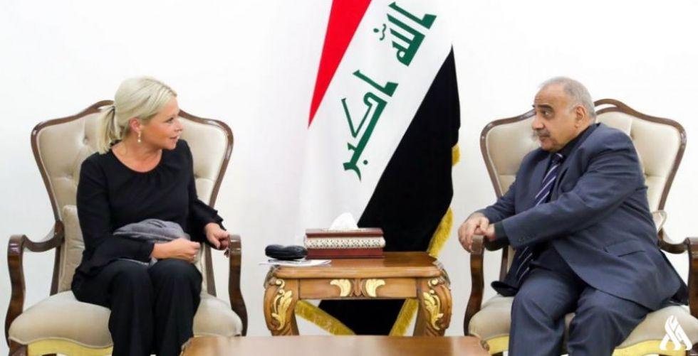 عبد المهدي يبحث مع الممثلة الأممية التطورات التي يشهدها العراق