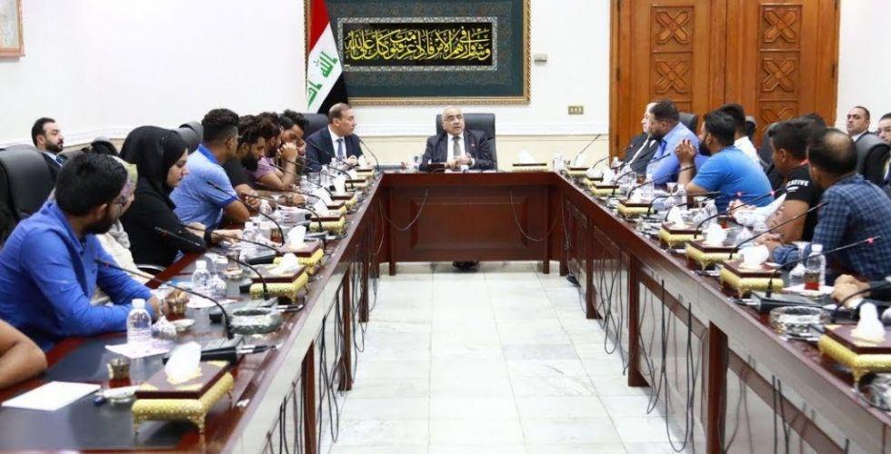 رئيس مجلس الوزراء السيد عادل  المهدي يلتقي ممثلي المهندسين المعتصمين ويوجه بإستيعاب ١٠٠٠مهندس