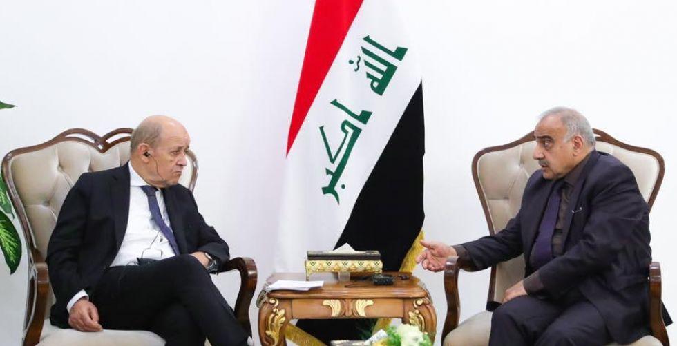رئيس مجلس الوزراء السيد عادل عبد المهدي يستقبل وزير الخارجية الفرنسي جان إيف لودريان.