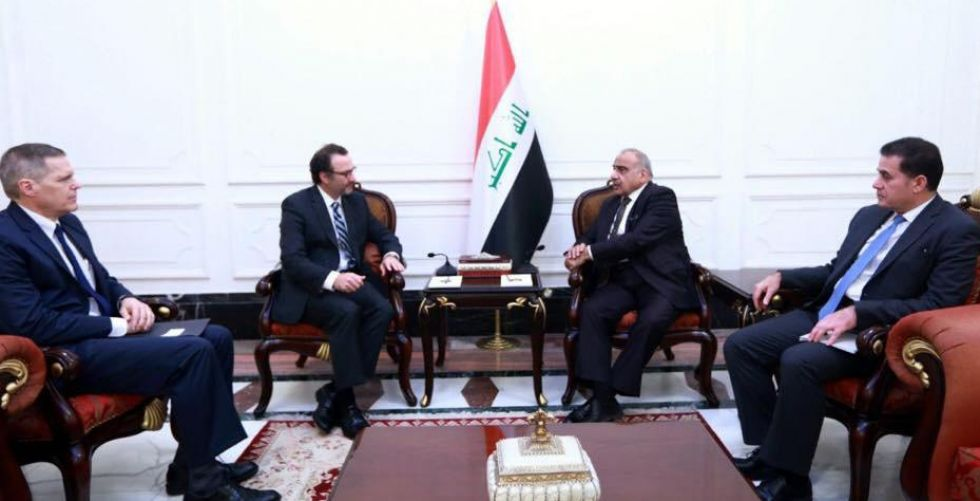 رئيس مجلس الوزراء السيد عادل عبد المهدي يستقبل مساعد وزير الخارجية الامريكي لشؤون الشرق الأدنى