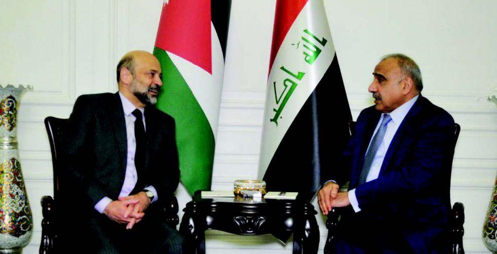 عبد المهدي يبحث مع نظيره الأردني العلاقات الثنائية