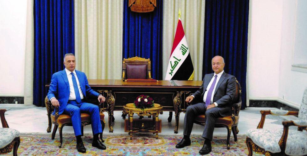 صالح والكاظمي يؤكدان ضرورة تهيئة الظروف الملائمة لإجراء الانتخابات