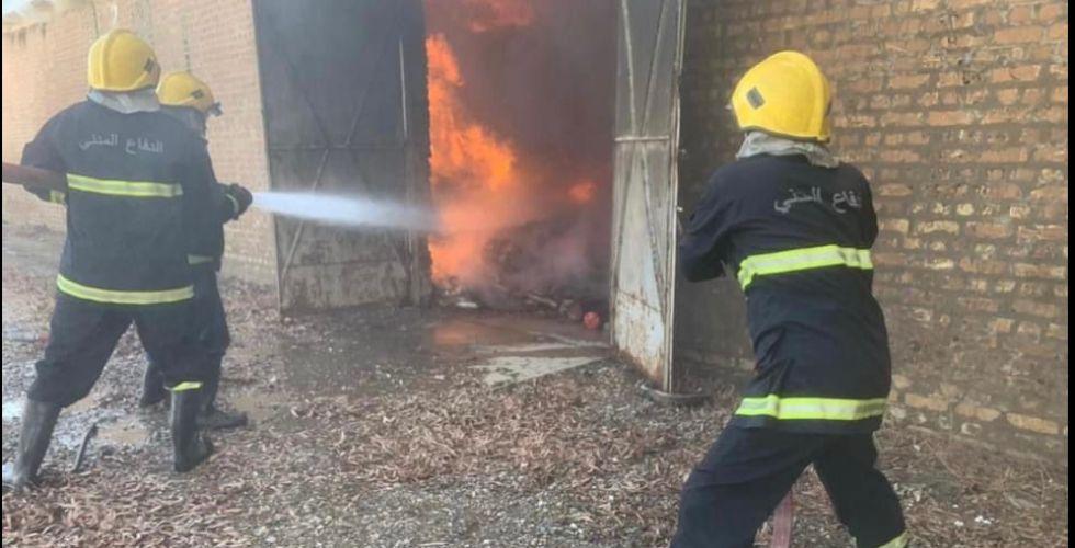 إخماد حريق  في مقر شركة أدوية سامراء